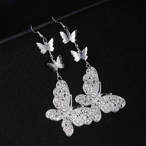 BUTTERFLY EARRINGS SILVER Drop Earrings Dangle